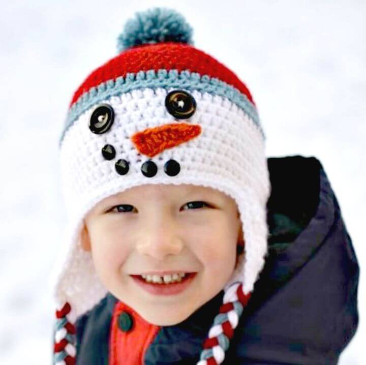 Free Crochet Snowman Hat for Boy Baby Pattern
