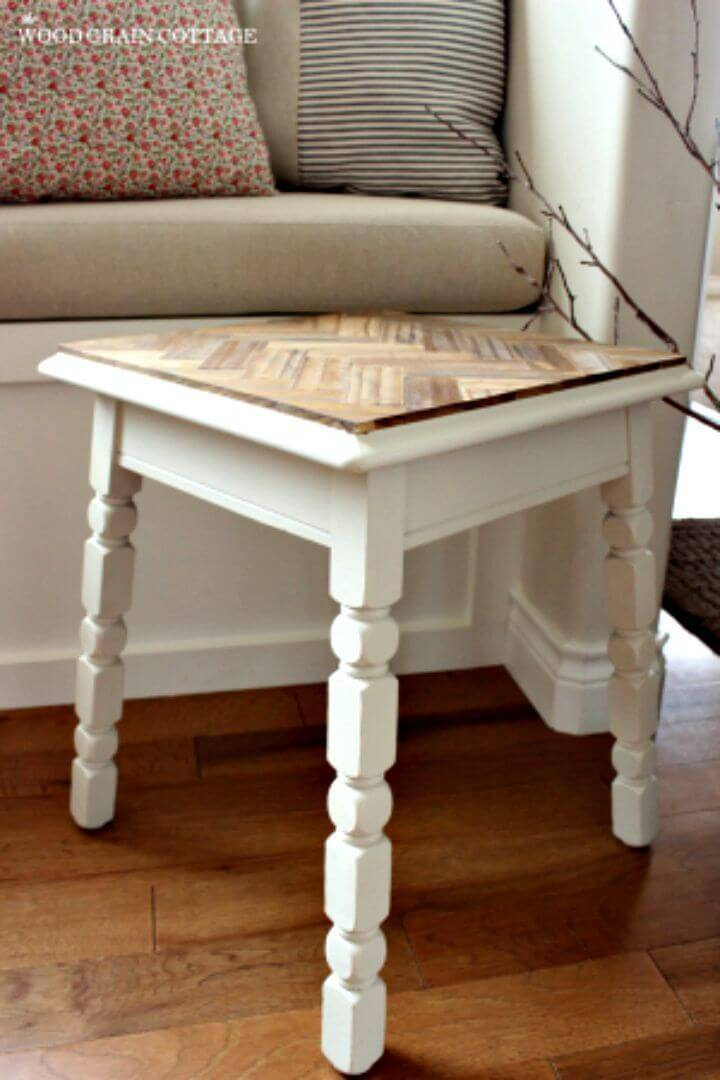 Easy DIY Herringbone Side Table Makeover