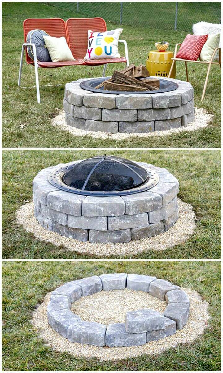 DIY A Fire Pit With Landscape Wall Stones