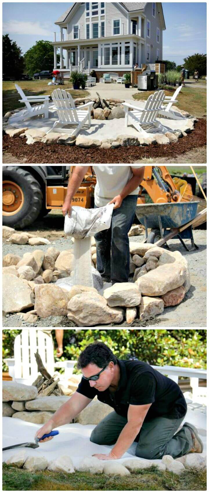Create A Field Stone And Sand Fire Pit Area