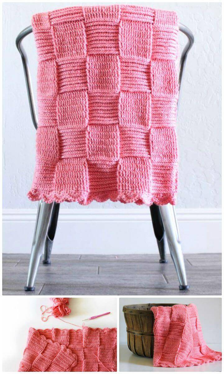Easy Free Crochet Basket Weave Blanket Pattern