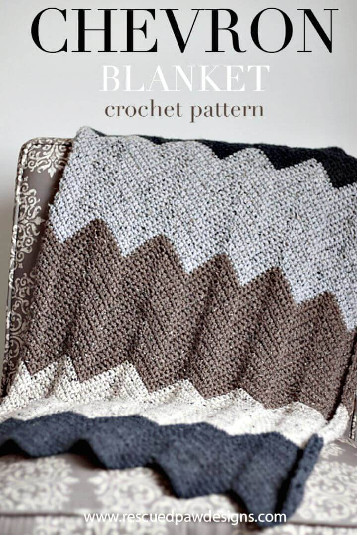 Easy Free Crochet Chevron Blanket Pattern