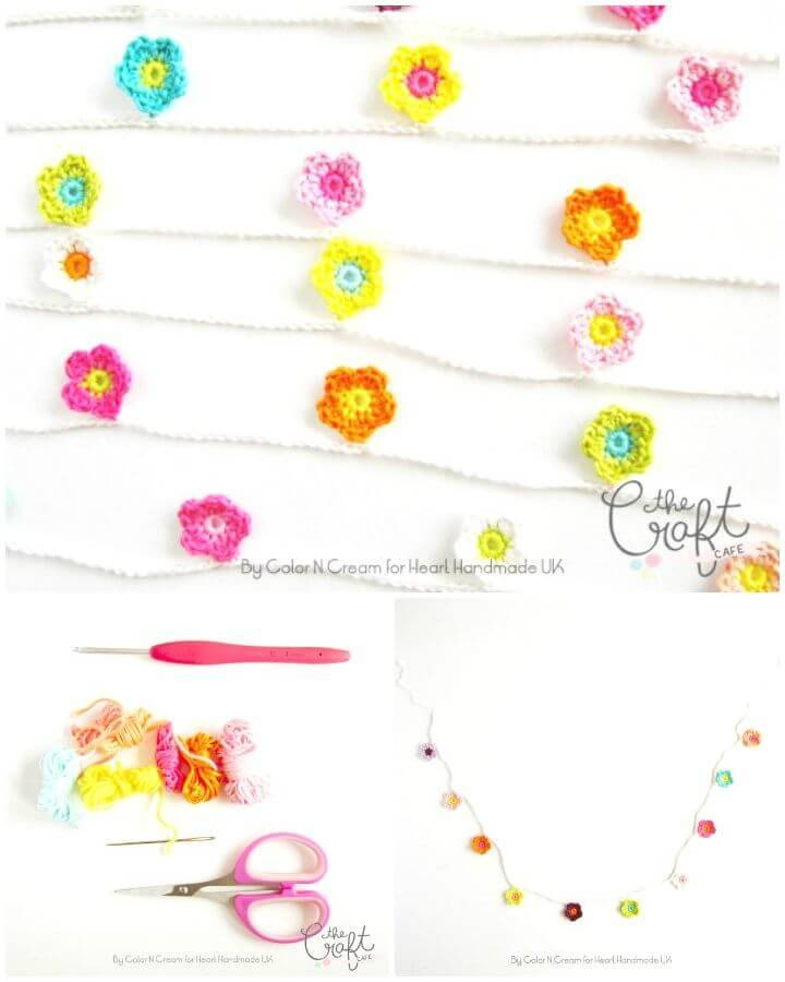 How To Easy Free Crochet A Flower For A Gorgeous Garland