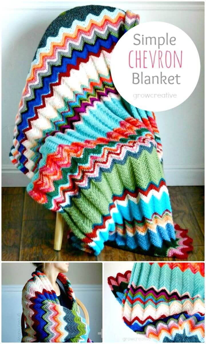 Easy Free Crochet Chevron Blanket - Free Pattern