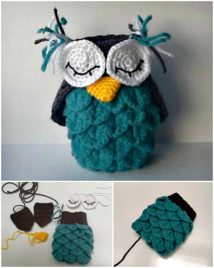 Easy Free Crochet Crocodile Stitch Owl Pattern
