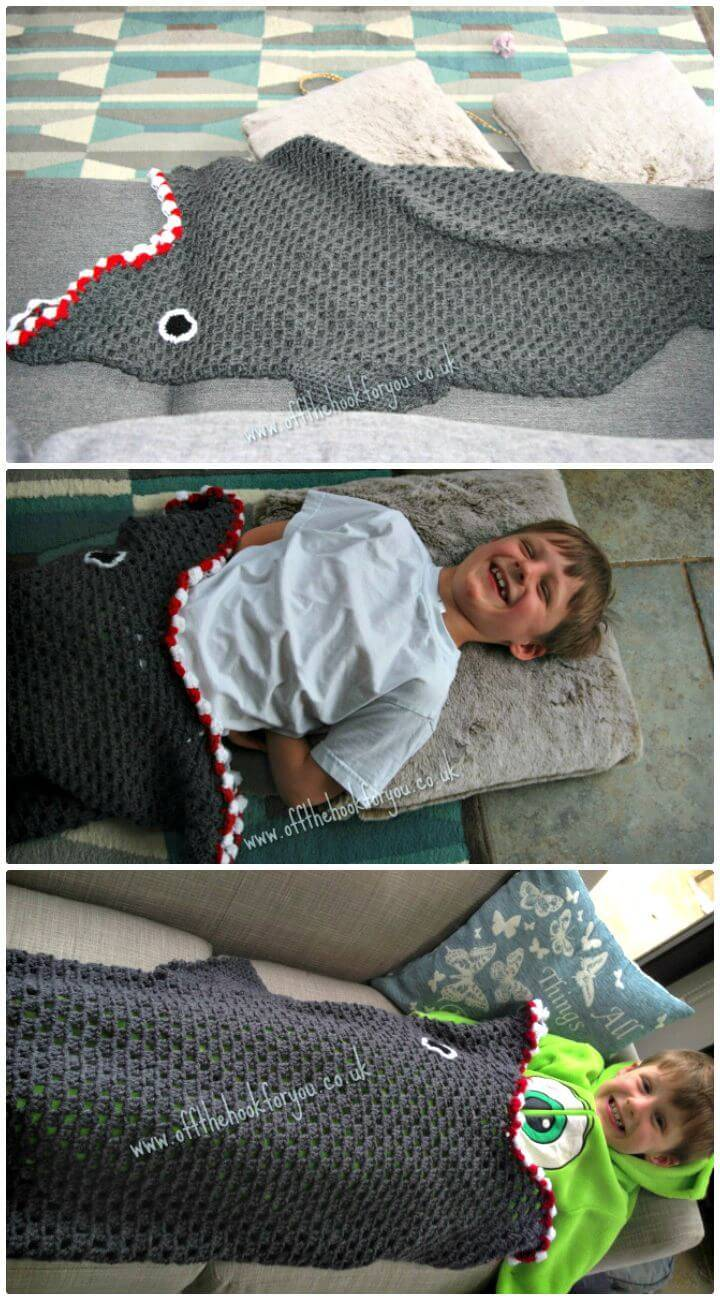 Easy Free Crochet Shark Blanket Pattern