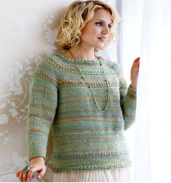 How To Free Crochet Tunisian Star Stitch Pullover Pattern