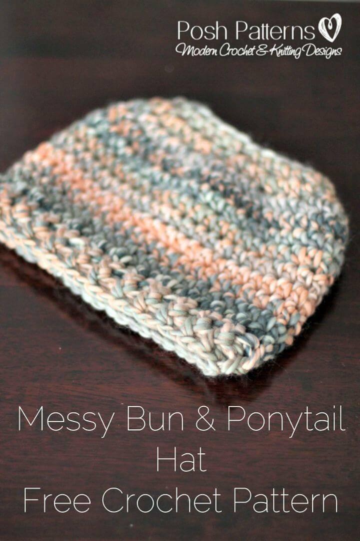Easy Free Messy Bun Hat Crochet Pattern