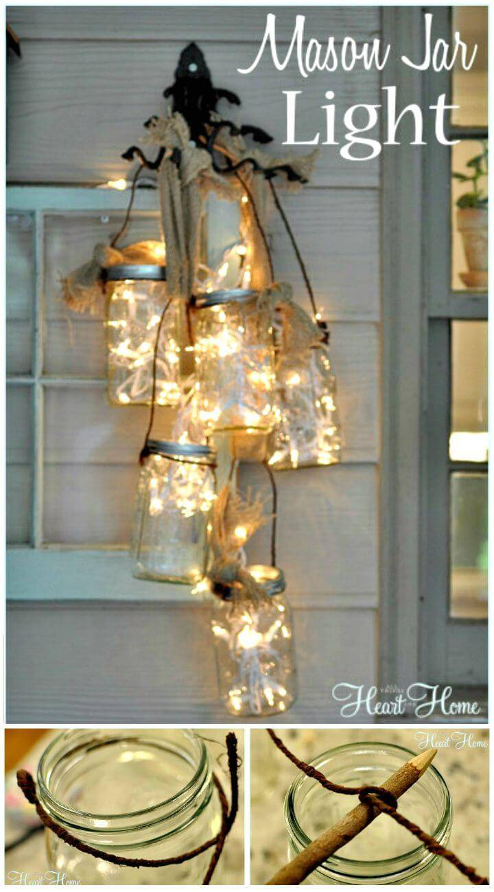 Easy To Make A Mason Jar Light - Inexpensive DIY Home Decor with Lights