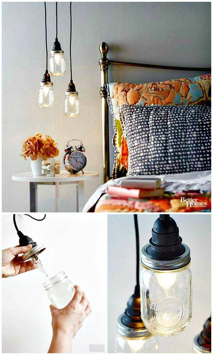 Easy To Make A Pendant Trio From Mason Jars - DIY
