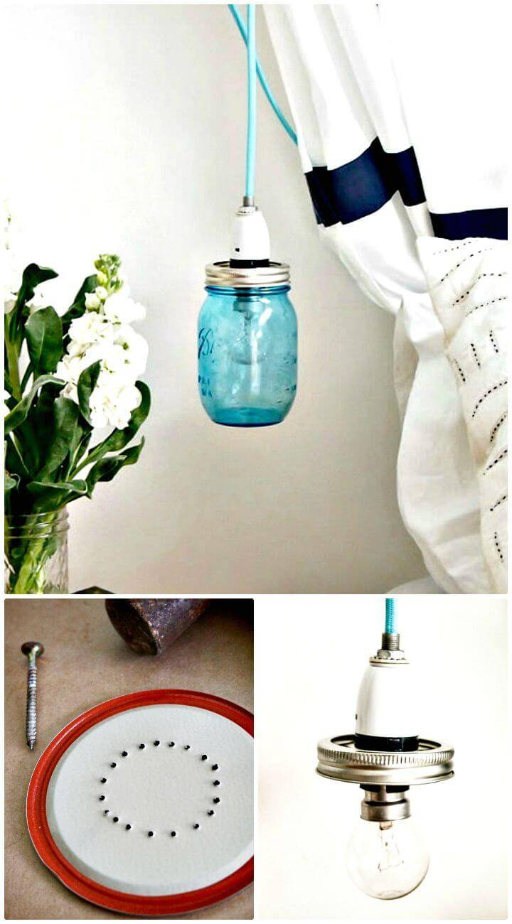 How To Make An Easy Vintage Mason Jar Pendant Light - Homemade Light Ideas