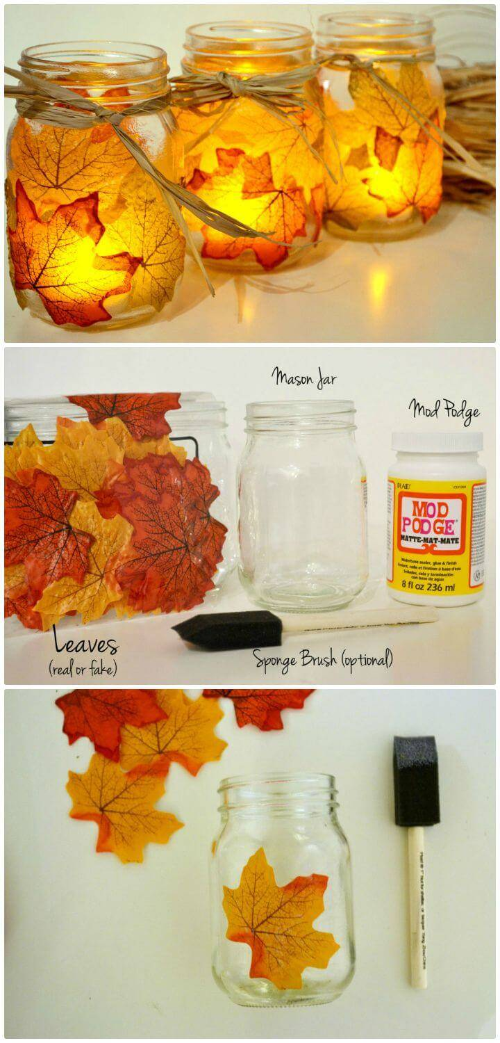 How To Easy Make An Autumn Leaf Mason Jar Candle Holder - DIY