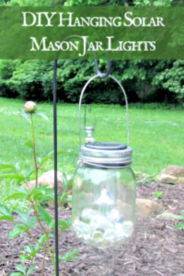 DIY Hanging Solar Mason Jar Lights - Free Tutorial
