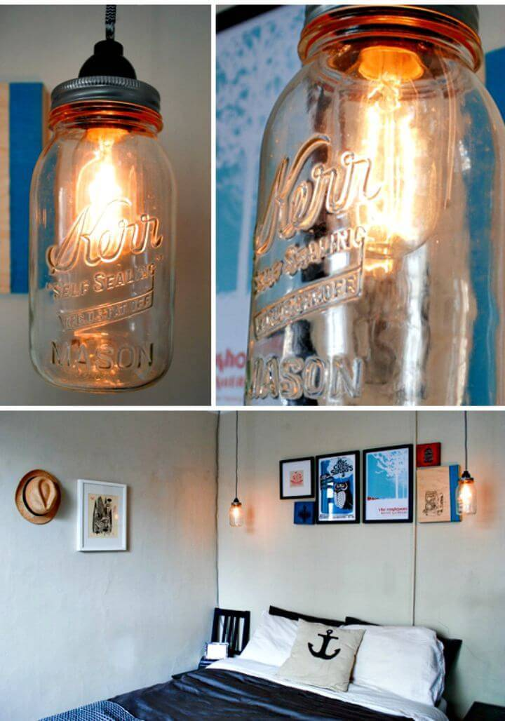 How To Make Easy Mason Jar Drop Lights - DIY Homemade Lights