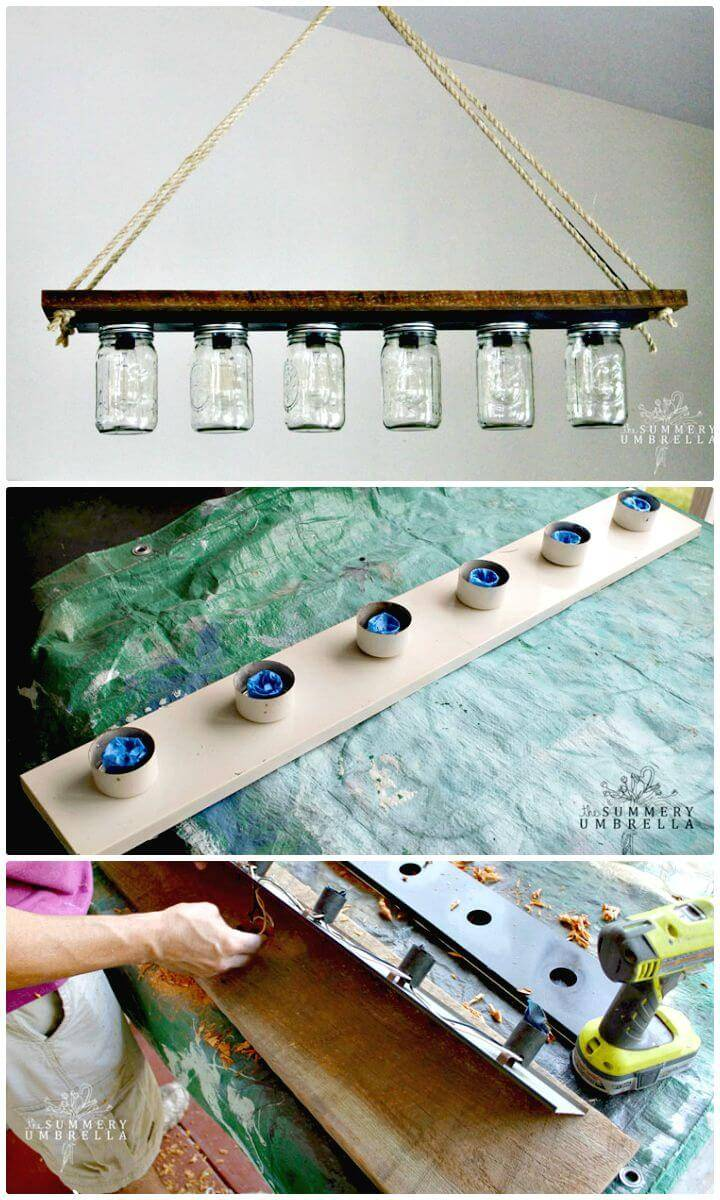 Easy DIY Mason Jar Pendant Light -Mason Jar Crafts