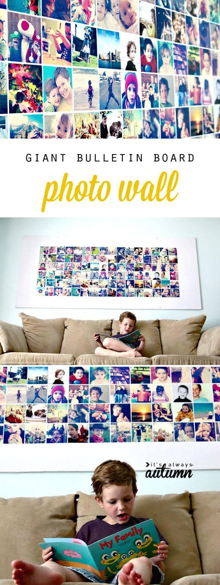 DIY Photo Wall Bulletin Board Tutorial