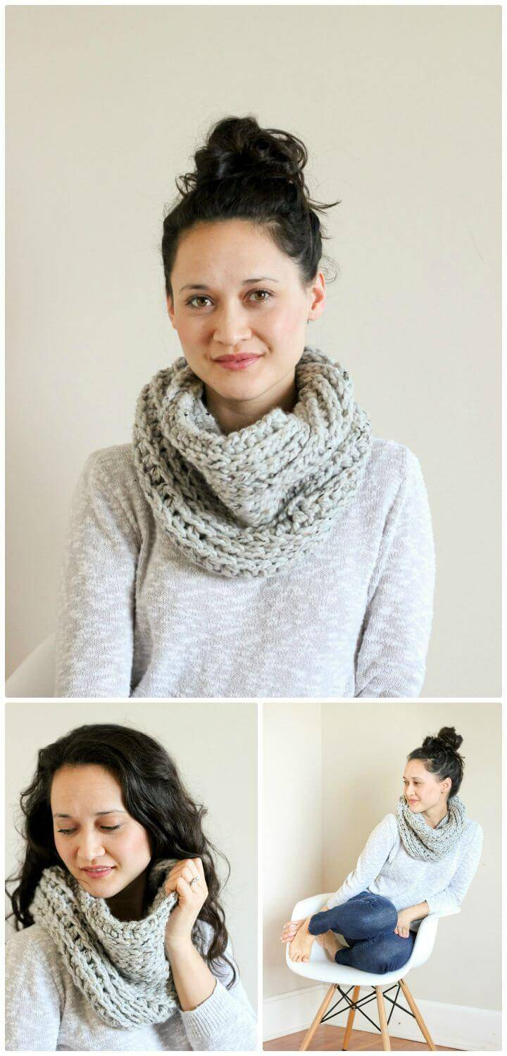 Easy Free Crochet Knit Look Cowl Pattern