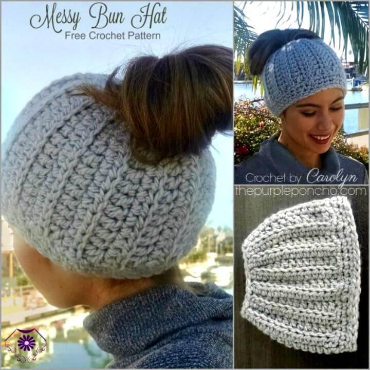 Messy Bun Hat – Free Crochet Pattern