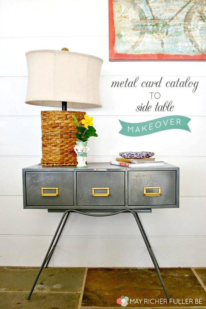 DIY Metal Card Catalog To Side Table