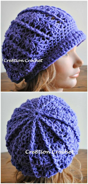 Crochet Newsboy Slouch Hat - Free Pattern