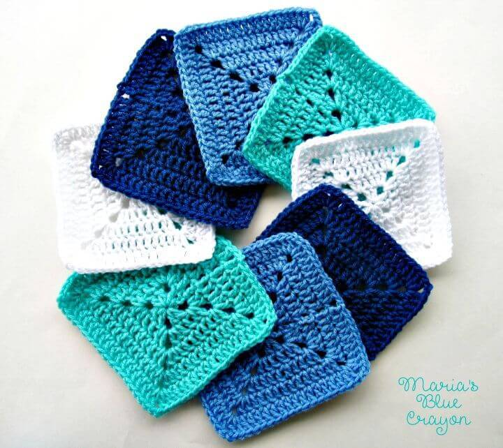Crochet Ocean Themed Granny Square Afghan Series Pattern