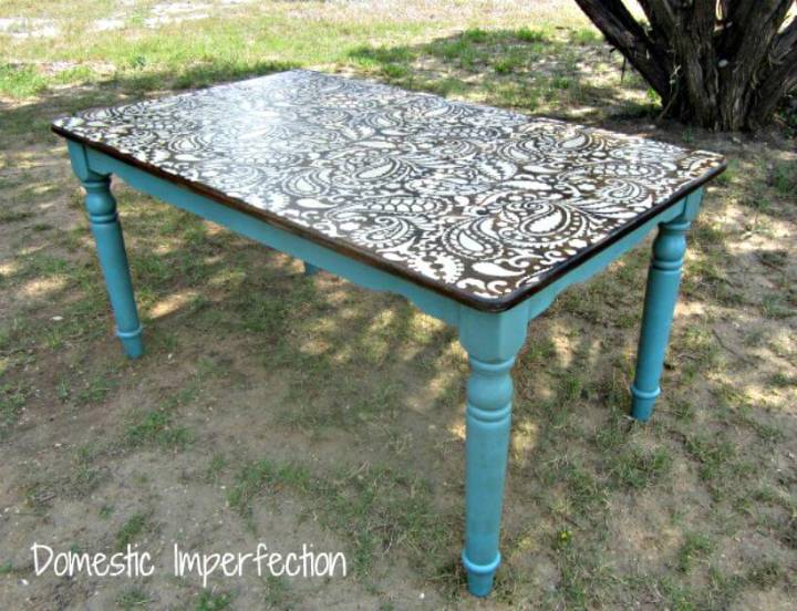 DIY Paisley Stenciled Table - Free Tutorial