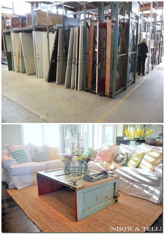 Easy How To Recycle Old Wooden Doors Into Large Coffee Tables
