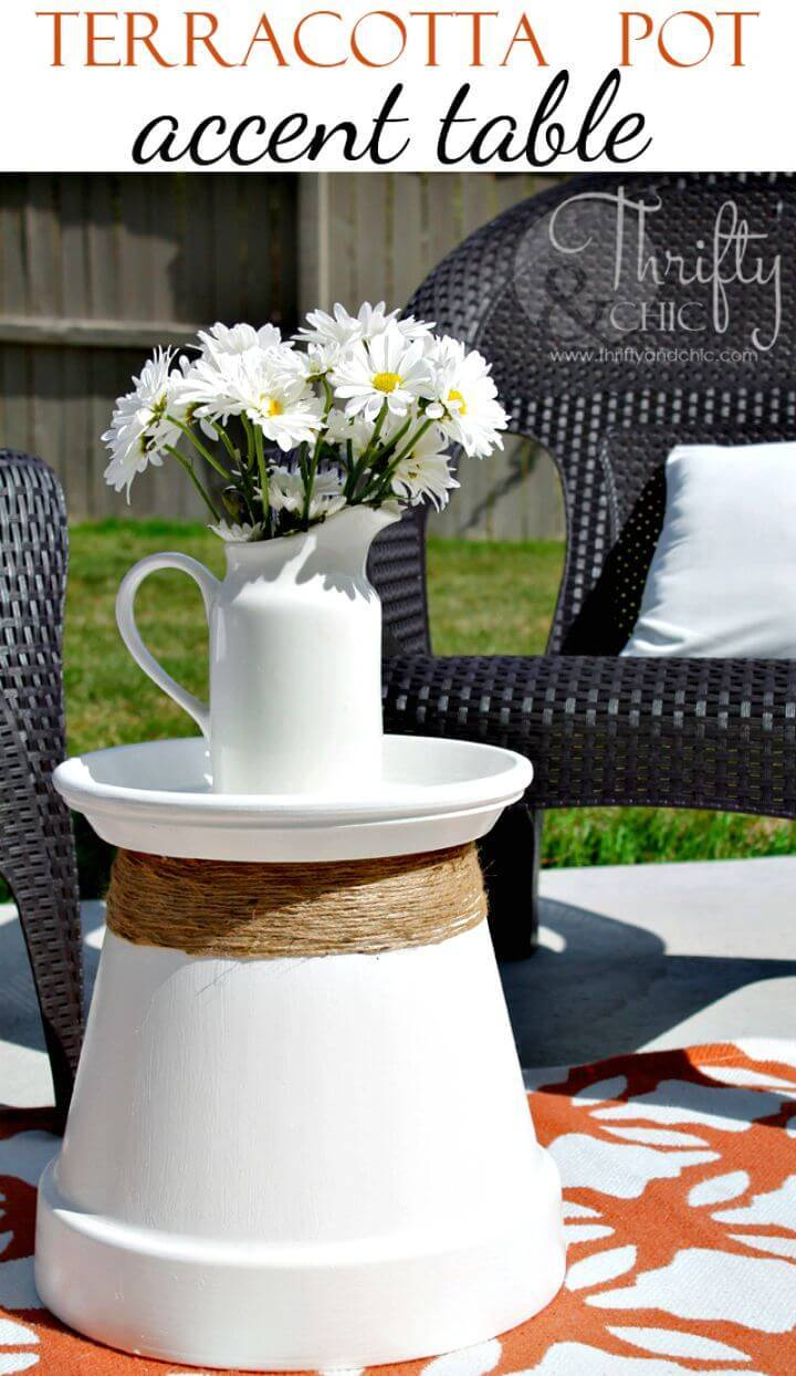 How To Re-purposed Terracotta Pot Accent Table