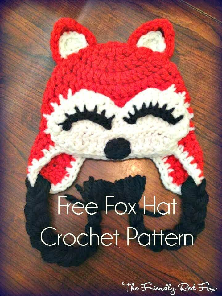 Simple And Easy Free Crochet Fox Hat Pattern