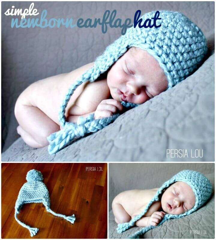 Simple And Easy Free Crochet Newborn Earflap Hat Pattern