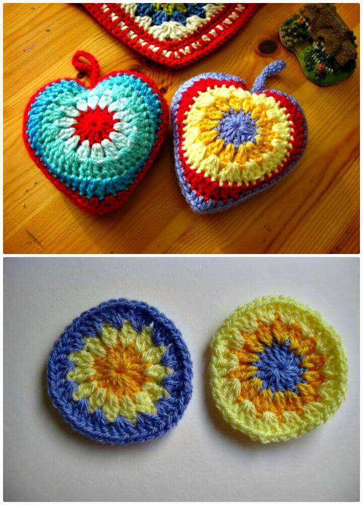Simple Free Crochet Sunburst Heart Tutorial