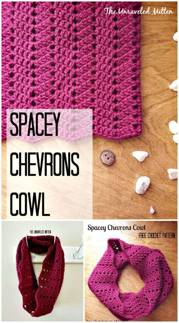 Crochet Spacey Chevrons Cowl Pattern