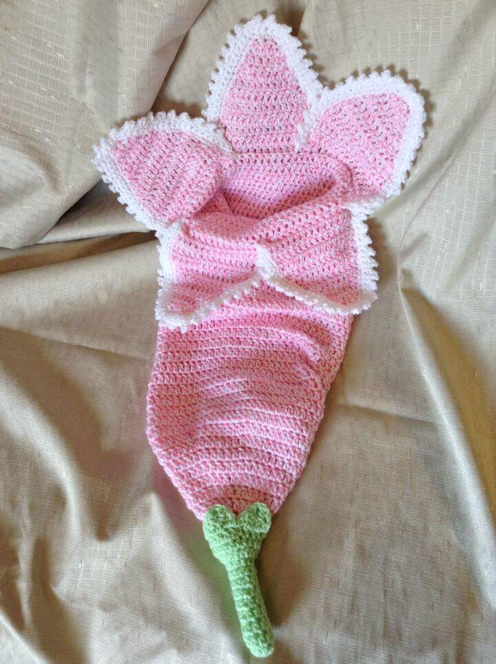 Free Crochet Spring Flower Newborn Cocoon with Pattern