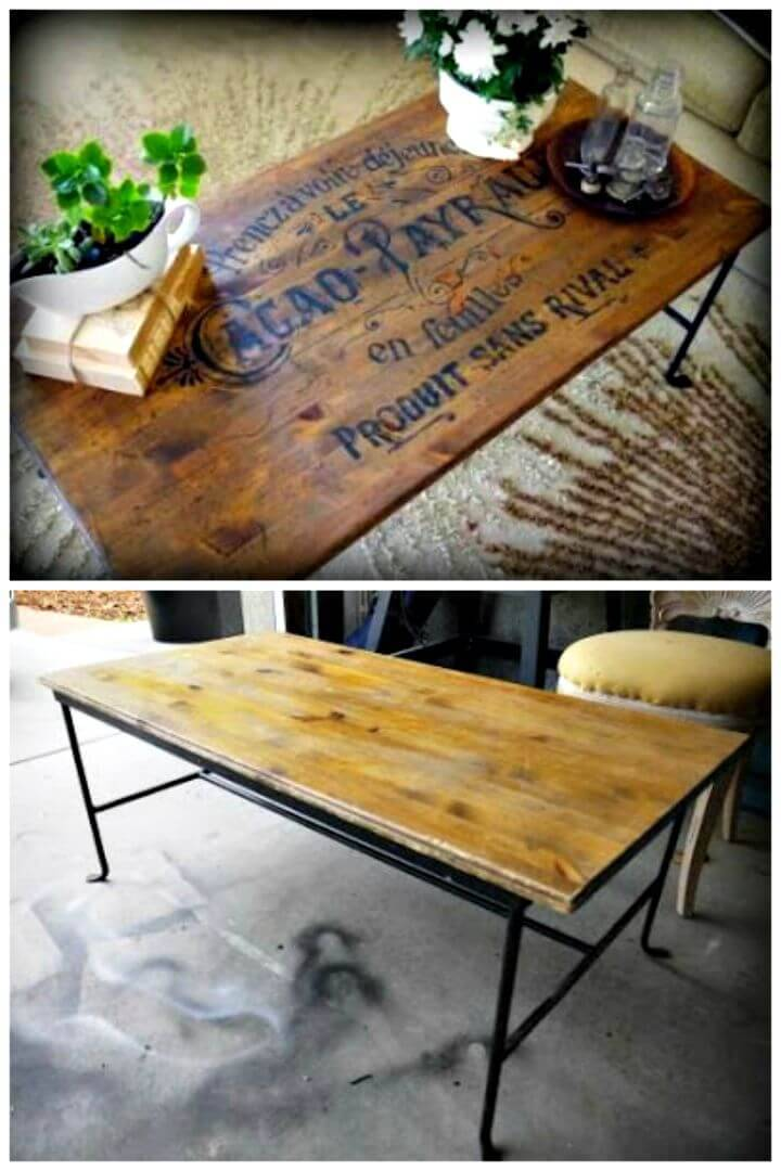 DIY Table Makeover - Stained And Stenciled