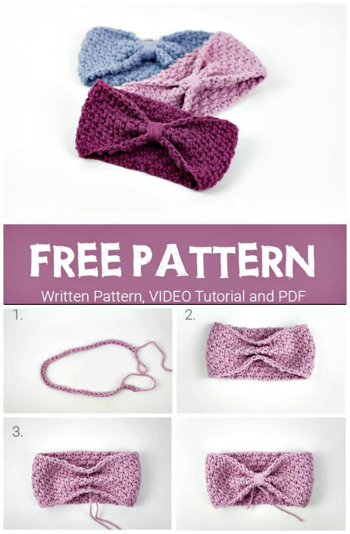 Super Easy Free Crochet Baby Headband Pattern
