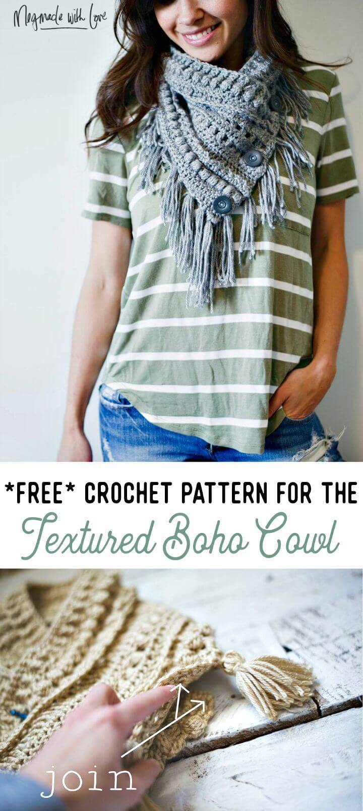 Free Crochet Textured Boho Cowl Pattern