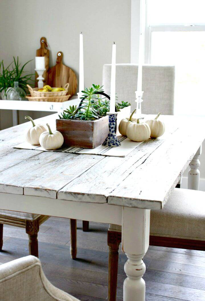 Easy DIY Whitewashed Reclaimed Wood Dining Table