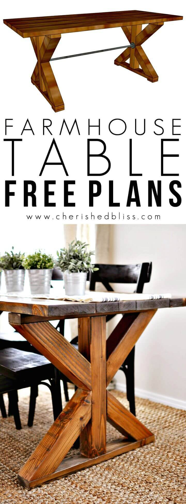 Learn How to Build X Brace Farmhouse Table