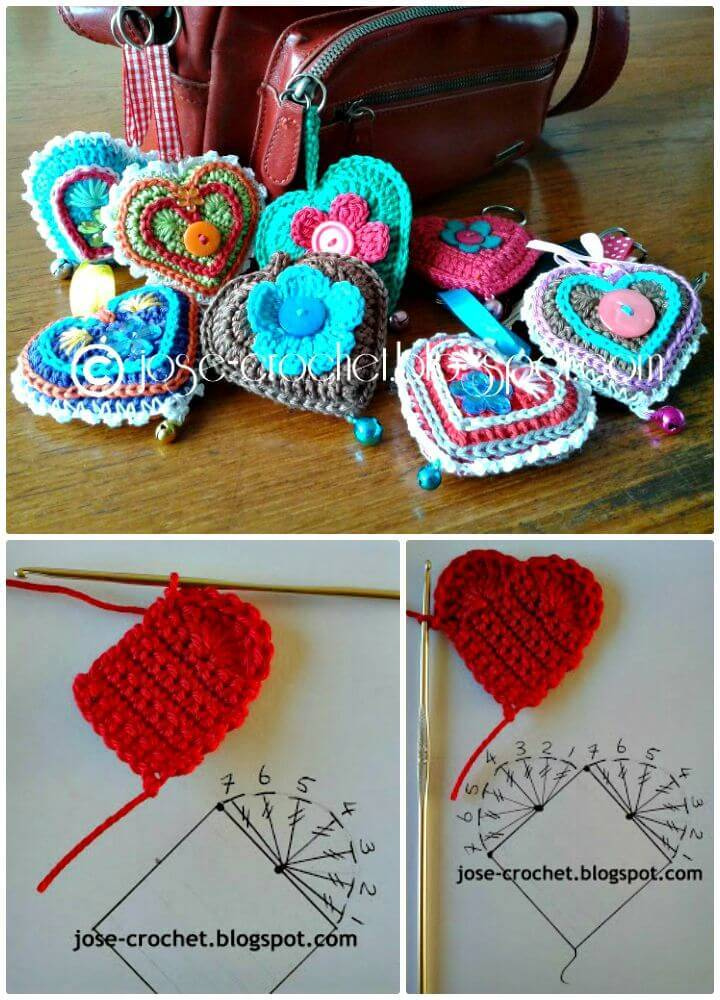 Adorable Free Crochet Heart Keychain Pattern