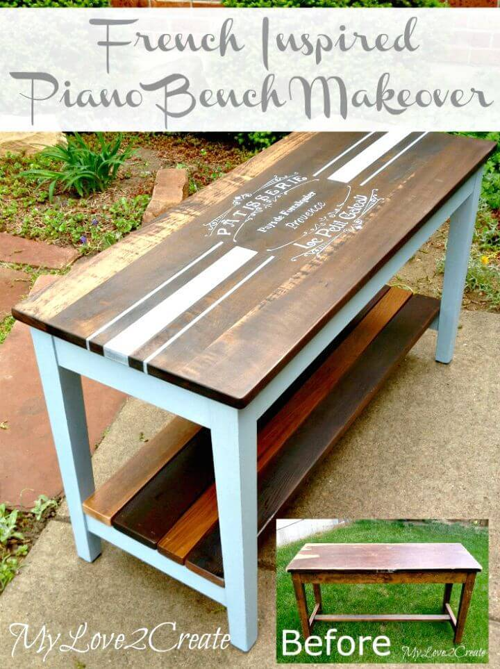 How to Build Your Own French Inspired Piano Bench Makeover Tutorial