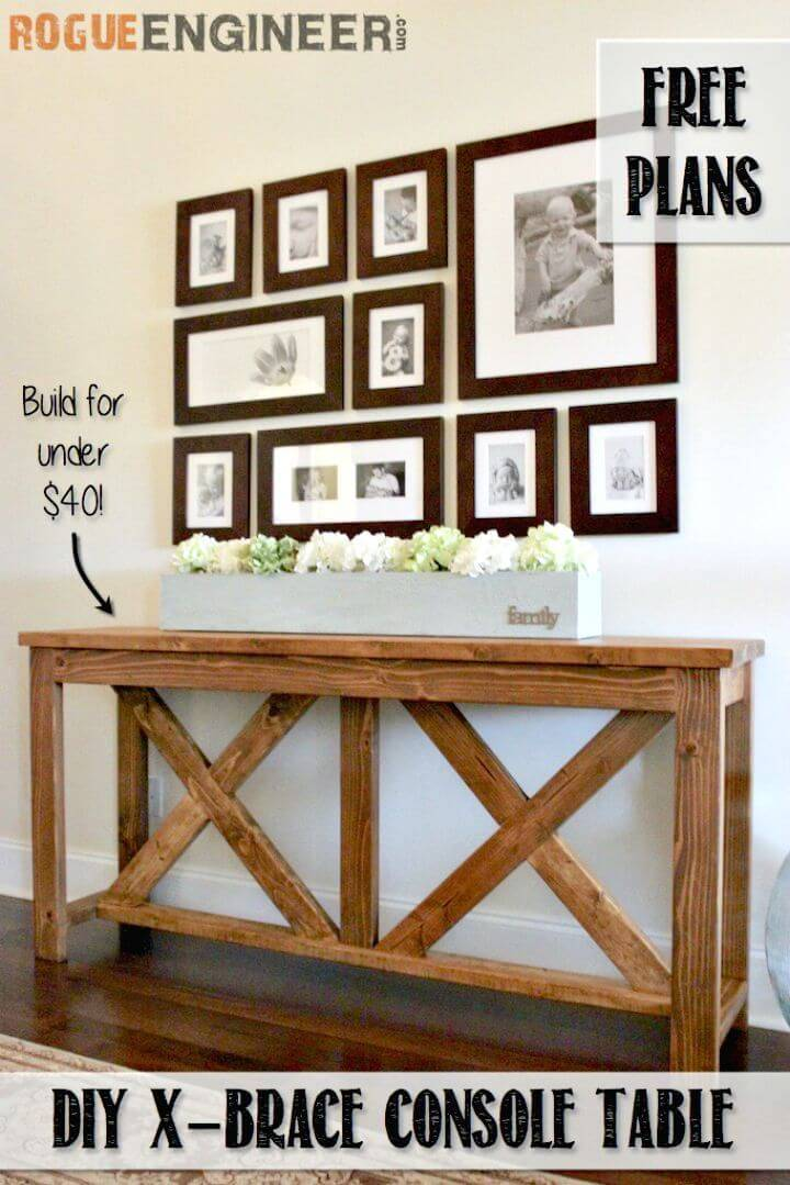 How to Build a X-Brace Entryway Console Table Tutorial