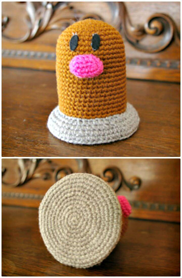 Easy Crochet Diglett Pokemon - Free Pattern