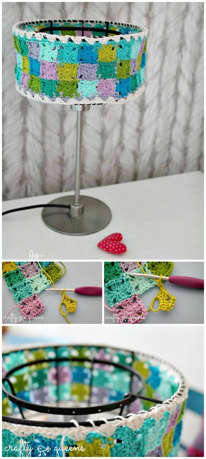 Easy Crochet Granny Collage Lampshade - Free Pattern