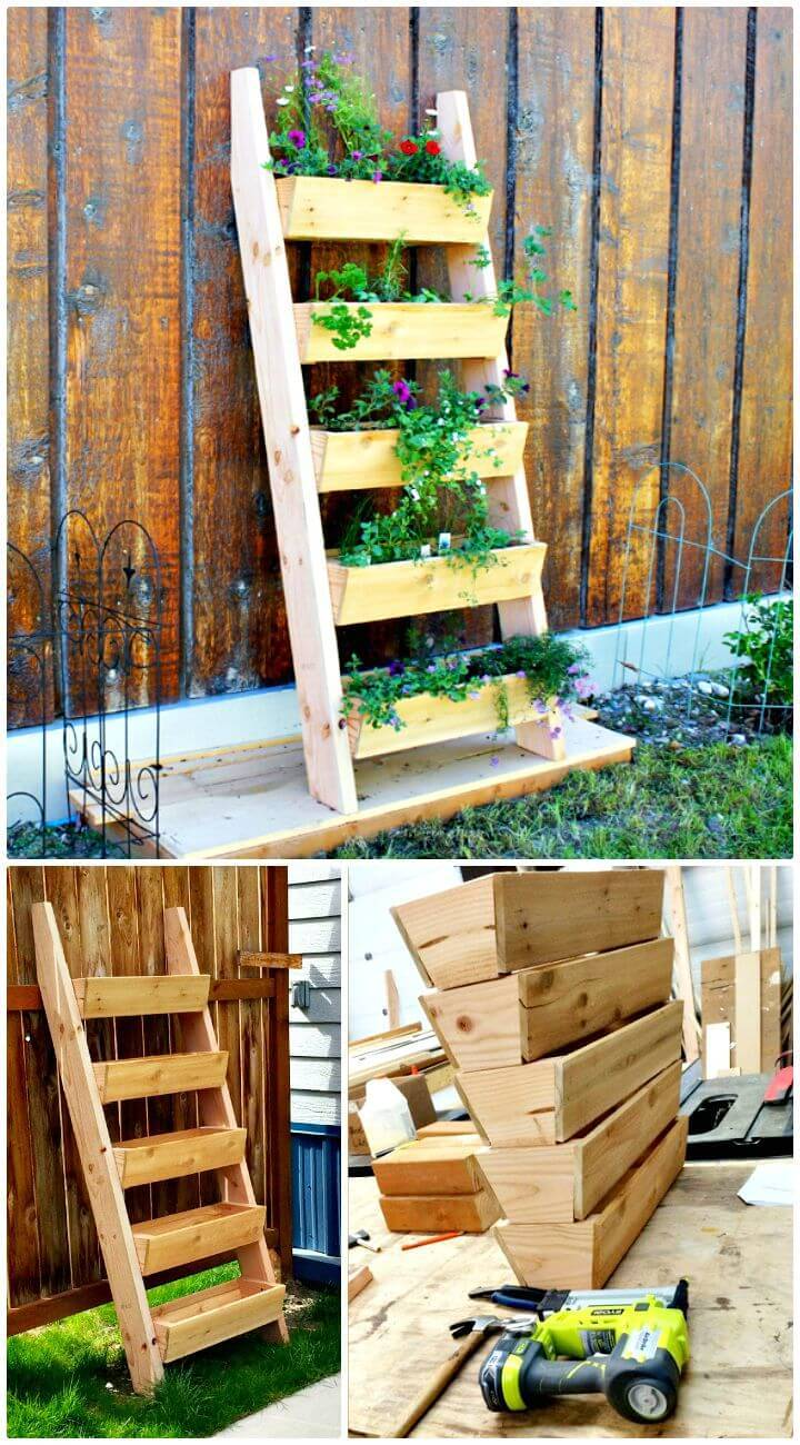 Easy DIY Cedar Vertical Tiered Ladder Garden Planter