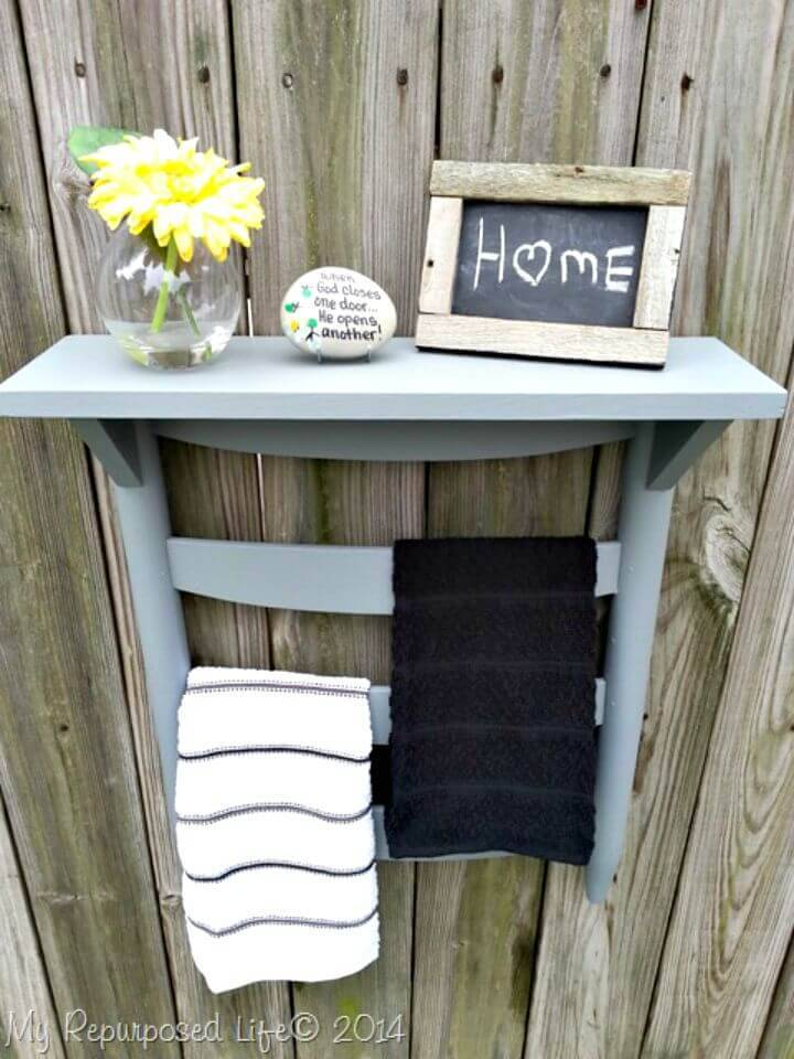 Easy DIY Chair Back Towel Rack Shelf Tutorial