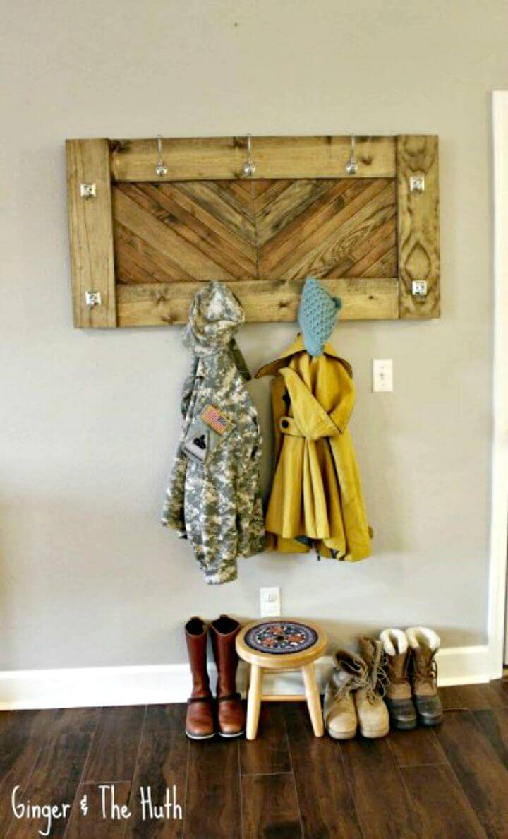 DIY Chevron Wall Coat Entryway Rack - Using Scrap Wood Tutorial
