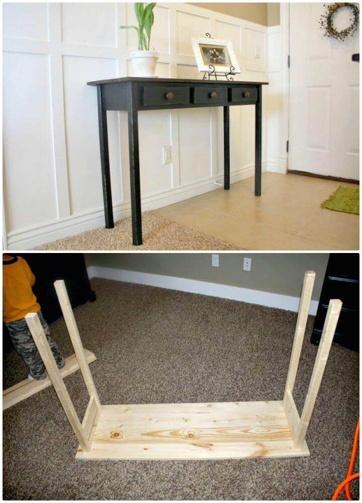 Easy to DIY Entry Table Black Distressed Tutorial
