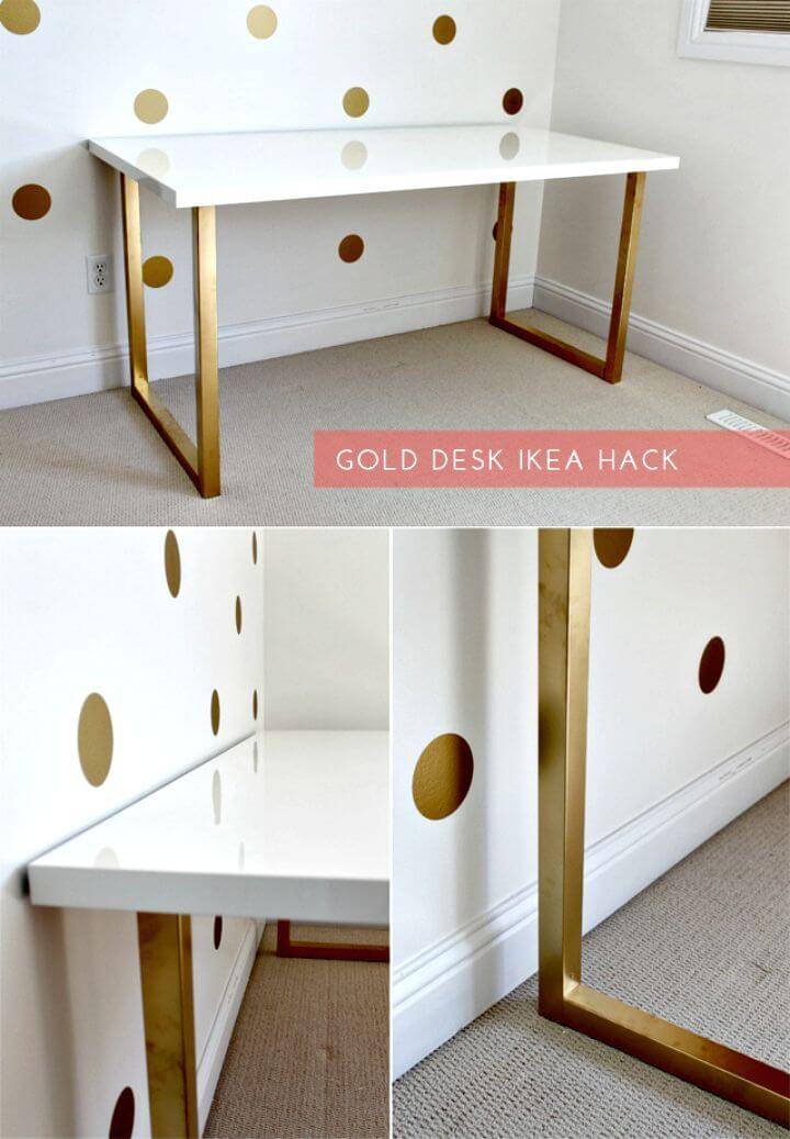 Easy DIY Gold Desk Ikea Hack Tutorial