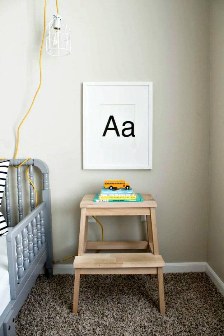 DIY Ikea Stool To Nightstand Tutorial