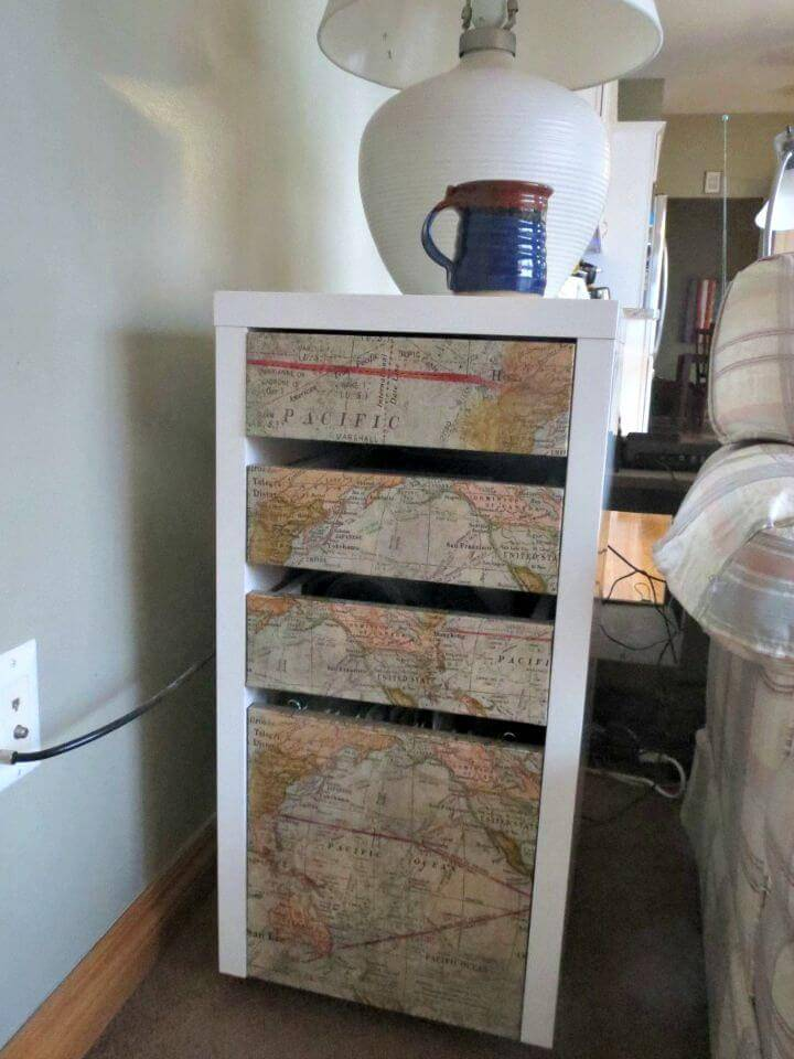 Easy DIY Map Covered Nightstand Tutorial